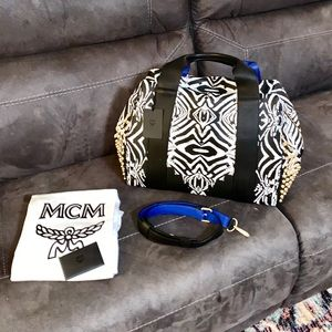 MCM Funky Zebra Boston Weekender Bag. NWT